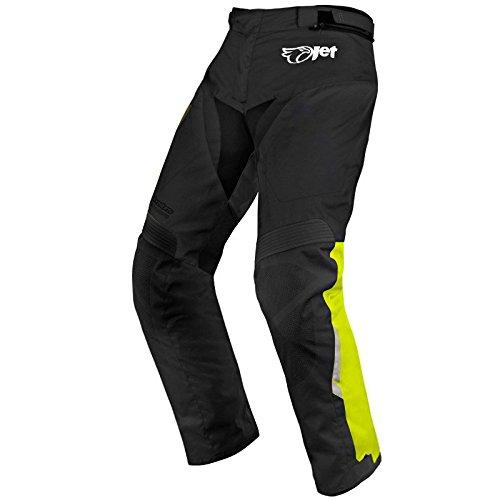 Pantalones de tela para motorista, resistentes al agua y al viento con protectores, Schwarz/leuchtend gelbes, 66 Lang / Weite 50