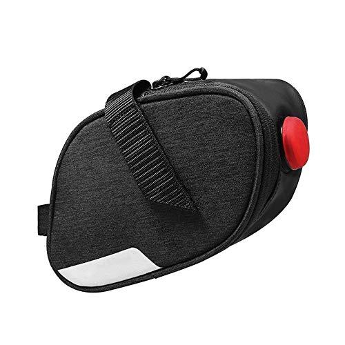Bolsa de Cuadro de Bicicleta 0.8L Resistente al Agua Ciclo de la Bicicleta de la Cola Bolsas de Montar de la Bici del Asiento Bolsas Bolsa con luz de la Cola para MTB al Aire Libre (Color : Black)