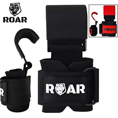 Roar® Stahl Haken zum Gewichtheben Handgelenkbandage Krafttraining Zughilfe Fitness Klimmzughaken Straps Deadlift Weight Lifting Metal Hooks for Professionals Bodybuilding (Schwarz)