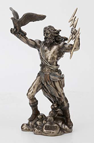 Veronese Design 8 1/2 Inch Greek God Zeus Thunderbolt Strike Cold Cast Resin Antique Bronze Finish Statue Home Decor