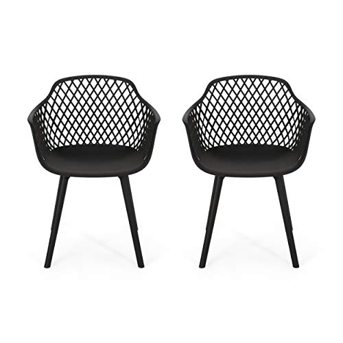 Christopher Knight Home 312471 Delia Outdoor Dining Chair (Set of 2), Black
