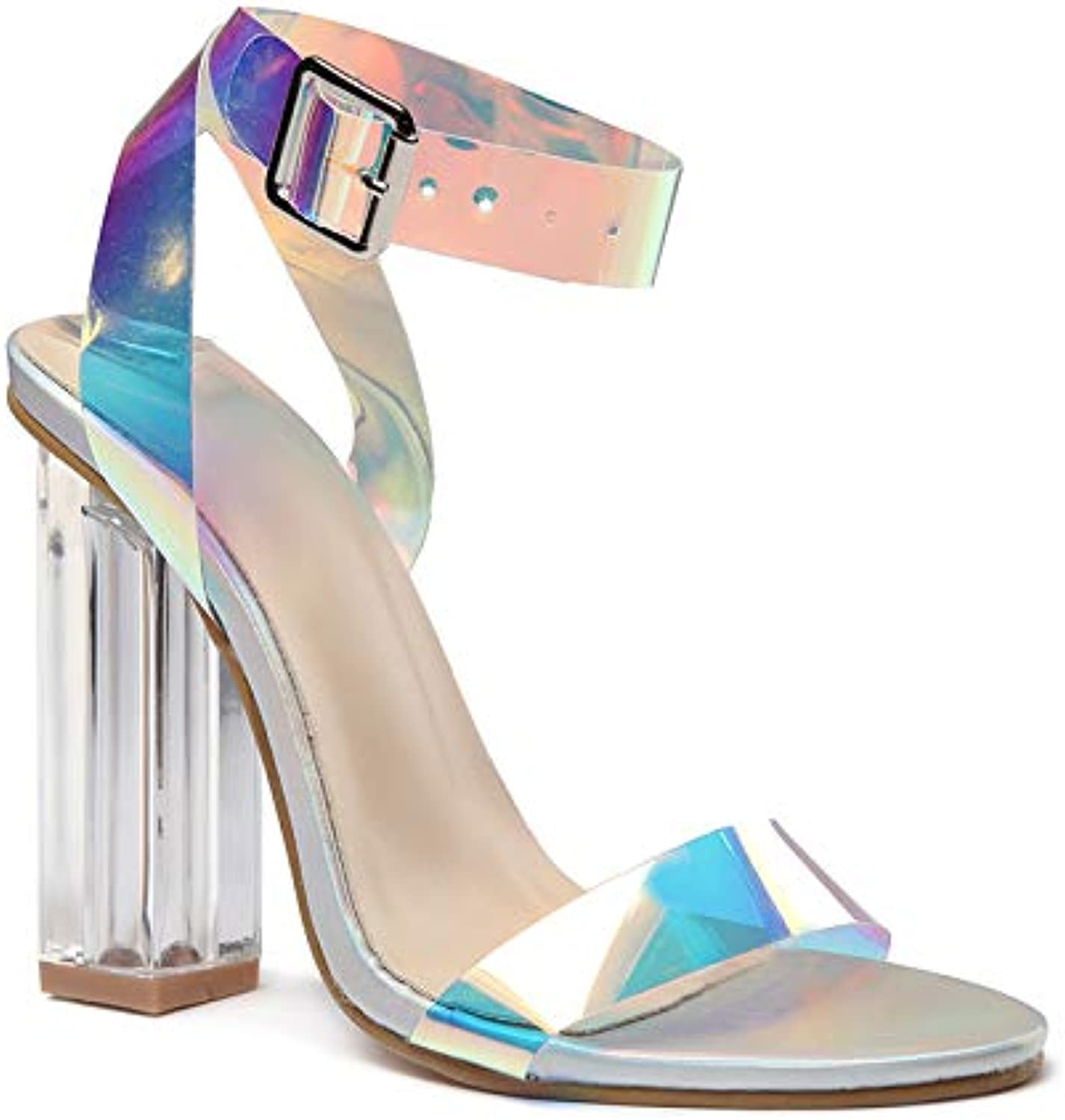 Women's Clear Strappy Block Chunky High Heel Open Toe Sandal Dress Sandal Party Pumps shoes