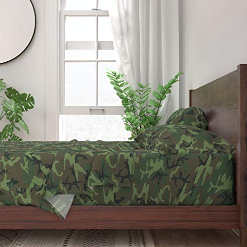 Roostery Sheet Set, Camo Erdl Camouflage Camping Solider Nursery Lime Dominant Woodland Print, 100% Itallian Cotton Sateen Sheet Set, King