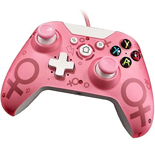 FFZQ Controlador con Cable Rosa, Controlador de Juegos, Joystick, para Xbox One/One S/One X/One Elite/Xbox Series X/PC/Windows