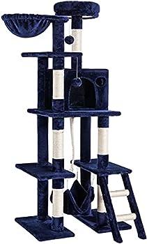rabbitgoo Arbre a Chat, Griffoir pour Chat à 5 Niveaux, Arbre à Chat geant de hauteur 155cm Bleu Foncé, Arbre à Grimper avec Panier Hamac et grande Niche, Arbre a Chat Solide, idéal pour Jeux et Repos