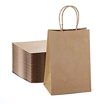 Kraft Paper Bags with Handles 5.25x3.75x8 Brown Kraft Gift Bag 100 Pc Bulk Grocery Shopping Bags Party Retail Business Packaging Merchandise Boutique Wedding Favor Baby Shower Small Business