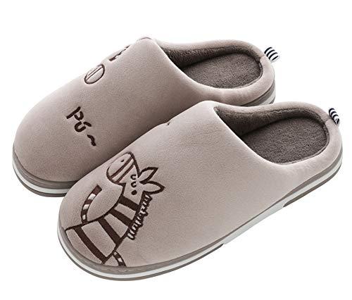 CELANDA Zapatillas de Casa para Mujer Hombre Cálido Zapatos de Estar Otoño Invierno Interior Casa Slippers Suave Algodón Zapatilla, B café,41/42 EU = 42/43 Talla Fabricante