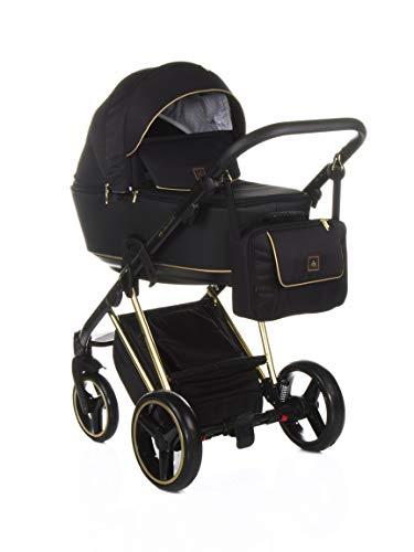 Adamex Cristiano CR-407 - Cochecito de bebé combinado con bolso cambiador + pantalla + mosquitera + soporte para bebidas y manguitos de invierno (CR-407 negro - dorado, 2 en 1)
