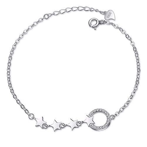 Thumby Vrouwelijke Maan Accessoires Armband Pentagonal Ster Armband S925 Sterling Zilver Meisjes Eenvoudige Persoonlijkheid Ring Zilver Ornamenten Honing Snoepjes, Lade