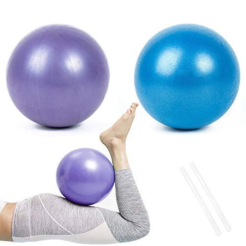 Gymnastikball Klein Pilates Ball, 2 Pcs Übung Ball Rutschfester & Superleichter Soft Gymnastikball mit Pumpe, 25cm, Fitness Ball für Yoga, Heim, Büro, Sitzball(Blau und Lila)