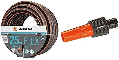 GARDENA Comfort FLEX Schlauch 19 mm, 25 m: Formstabiler, 25 bar Berstdruck & Profi-System-Spritze: Gartenspritze mit großer Durchflussmenge, stufenlos regelbar, geeignet für 19 mm-Schläuche