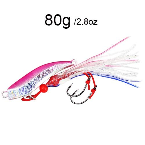 L-MEIQUN, 1-Stück Blei Jigkopf 80g 100g Trolling Jigs mit Squid Röcke 2 Einzel-Assist Hooks Jigging Salzwasser-Fischen Lur (Farbe : Pink 80g)