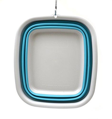 41LVVAanJwL - SAMMART 9.45L (2.5 Gallon) Collapsible Tub - Foldable Dish Tub - Portable Washing Basin - Space Saving Plastic Washtub (Bright Blue, M)