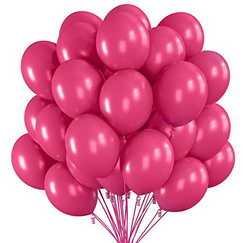 Prextex 75 Hot Pink Party Balloons 12 Inch Hot Pink Balloons with Matching Color Ribbon for Pink Theme Party Decoration, Weddings, Baby Shower, Birthday Parties Supplies or Arch Décor - Helium Quality