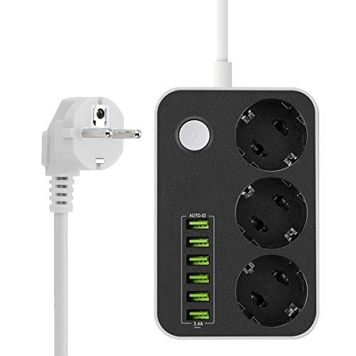 Multipresa Ciabatta Elettrica, DomoWin Ciabatta Multipresa con 6 USB e 3 Prese Schuko Multipresa 2500W Striscia di Alimentazione con Protezione da Sovraccarico 1.6 Metro Cavo Alimentazione
