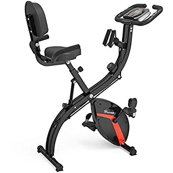 YITAHOME Foldable Upright Exercise Bike Magnetic Spin Bike Fitness Stationary Slim Bicycle with Arm Resistance Band & Backrest 3-in-1 Indoor Training Home Use Black