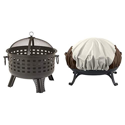 Amazon Basics 23.5 Inch Steel Lattice Fire Pit and Round Fire Pit Cover, Small