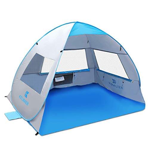 SGODDE 大型ポップアップビーチテント 2019 紫外線対策 サンシェルターテント ポータブル 自動ベビービーチテント インスタント簡単 アウトドアカバナ 3~4人用 家族大人向け