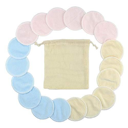 18pcs Coton réutilisable de solvant de démaquillant tampons en Bambou lavables et respectueux de l'environnement de Retrait avec Sac à Linge