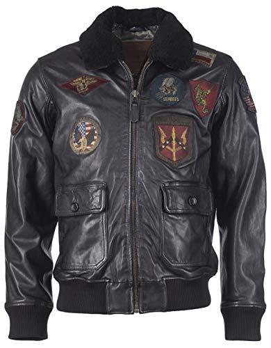 Top Gun Herren Lederjacke Mit Patches Im Blouson-Stil Tgj1001 Black,S