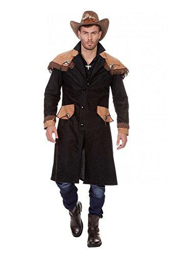 shoperama Abrigo largo de vaquero con capa de hombro, negro/marrón, para hombre,...