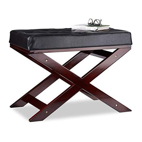 Relaxdays zitbank met kussen zonder leuning, van hout en kunstleer, eenzits, HxBxD 48 x 64 x 40, zwart