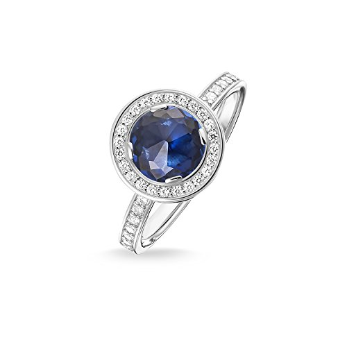 Thomas Sabo Women-Ring Glam & Soul 925 Sterling Silver Zirconia blue Size O (17.2) TR1971-050-32-54