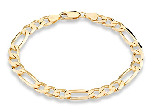 "Miabella 18K Gold Over Sterling Silver Italian 7mm Solid Diamond-Cut Figaro Link Chain Bracelet for Men 7, 7.5, 8, 8.5, 9 Inch 925 Made in Italy (9.0 Inches (7.75""-8"" Wrist Size))"