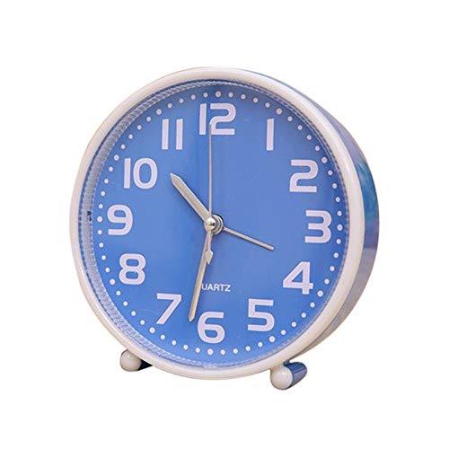 yywl Reloj Despertador Portátil de Alarma for no Hacer tictac del Reloj 5 Pulgadas de Color Caramelo Reloj de Mesa con luz de Noche del Escritorio del hogar Decoración (Color : Blue)