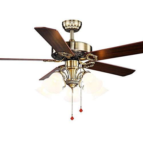 Qinmo Deckenventilator, Innenbeleuchtung Fashian American Retro Nostalgische Industrie Stil Wohnzimmer Esszimmer Schlafzimmer Hauptdekoration Ventilator-Licht, Holz Fan Blade, leiser Motor, Durchmesse