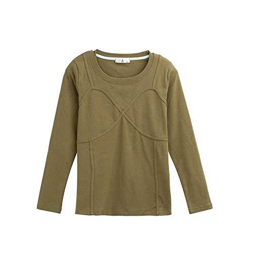 YANGPANGZI Blusa de Mujer de Talla Grande, otoño, más diseño de Fertilizante, Camisa con Base de Costura