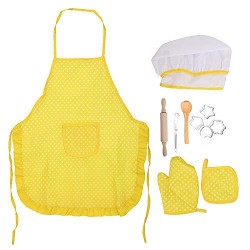 Delantales de juguete para niñas Juego de juguetes para hornear para niños, regalo para niños Delantal para juegos de rol para niñas, juguetes de cocina para niños, juego de juegos de(yellow)