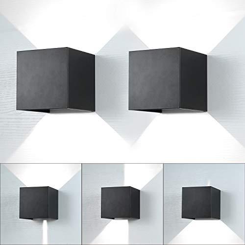 ENCOFT 2pcs 12W Aplique de Pared Exterior Interior COB LED Moderno, Lámpara de Pared en Aluminio IP65 Impermeable Ángulo de Luz Ajustable, Luz 6000K Blanco Frio, Negro