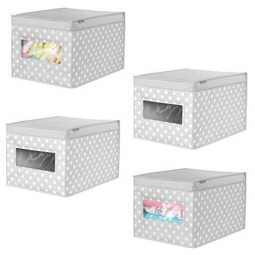 mDesign Juego de 4 Cajas organizadoras de Tela – Caja de almacenaje apilable para Guardar Ropa y Zapatos o para ordenar armarios – Organizador de armarios con Tapa y ventanilla – Gris/Blanco