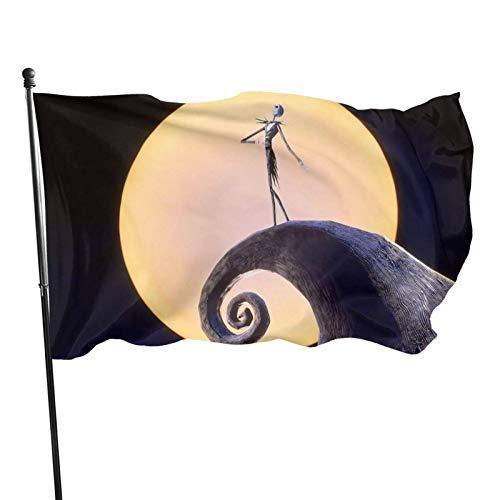 GOSMAO Bandera de jardín, Pesadilla Antes de Navidad, Color Vivo y Resistente a los Rayos UV, con Doble Costura, para Patio, Bandera, Bandera de Temporada, Banderas de Pared, 150 x 90 cm