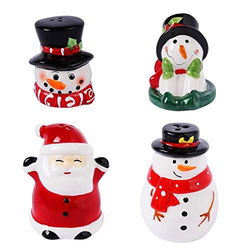 Christmas Salt and Pepper Shakers, Santa & Snowman Cute Christmas Holiday Ceramic Set, 4PCS Ceramic Shakers Bundle Set Holiday Decor (Santa Theme)