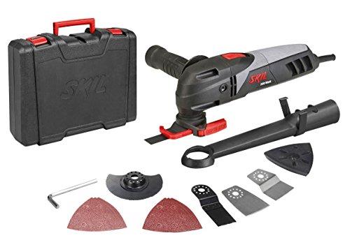 Skil 1480AD - Multiherramienta oscilante (300 W, adaptador para aspiración de polvo, tope de profundidad, empuñadura, juego de 11 accesorios, maletín)
