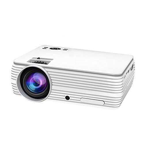 1080p mini-projector, beweegbare 1800 lux, videoprojector met ± 15 graden, 4D-trapeziumcorrectie, 110 inch, scherm, 30000 uur, LED-lampen, leven met vuur-TV-stick, PS4, HDMI, USB-SD-kaart, VGA-handel wit