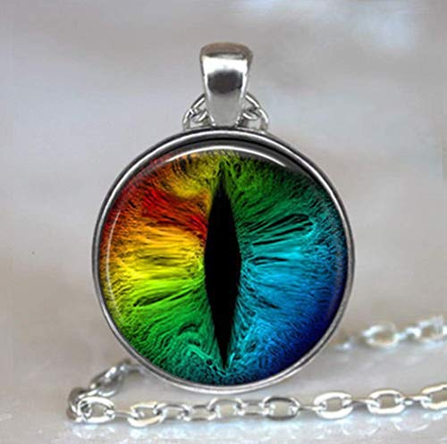 Regenbogen-Drachenaugen-Anhänger, Drachen-Schmuck, Drachen-Halskette, Drachen-Geekery.