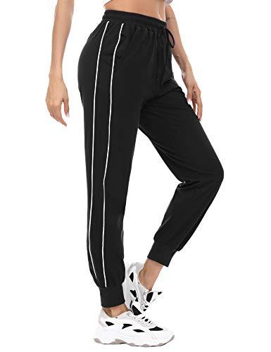 TIMEMEANS Pantalon De Surv/êtement Femme Stretch Pantalons De Sport Tummy Control Running