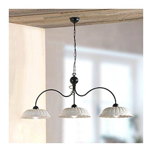 Lampe à bascule 3 lumières avec des plaques en céramique plissé, perforé, rétro-pays – Ø 116 cm - Rosso