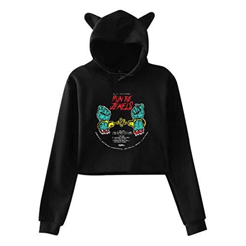 Lawenp Run The Jewels Women's Girls Cute Long Sleeve Hoodie Cat Ear Hoodie Sweater All Match Black