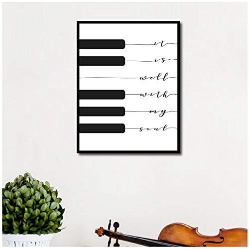 Song Lyric Print Het is goed met mijn ziel muziek poster piano toetsenbord kunst canvas schilderij afbeelding muurkunst Home Decor -50x70cm (geen lijst)