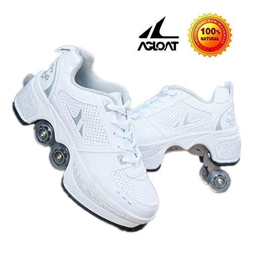 AXYQ Inline-Skate, 2-in-1-Mehrzweckschuhe, Verstellbare Quad-Rollschuh-Stiefel,White-36