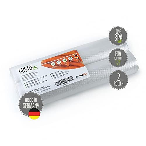 GustoVac PREMIUM Vakuumrollen - 2 Rollen 30x600 cm - Made in Germany - Für alle Vakuumiergeräte - Mit geprägter Struktur - Sous-Vide Garen geeignet - extra starke Schweißnaht – GRATIS E-Book