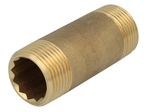 Rohrdoppelnippel - Langnippel 1 Zoll x 80 mm messing blank