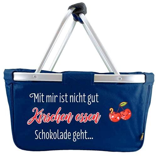 Mein Zwergenland Faltbarer Einkaufskorb Kirschen Essen, Korb klappbar 28 L, Faltkorb Navy mit Spruch