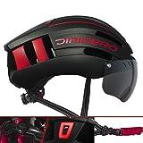 DIRIDERO Casco Bici Luce LED, Certificato CE, Casco con 2 Visiere Magnetiche Staccabile, C...