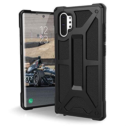 Urban Armor Gear Monarch Hülle für Samsung Galaxy Note 10 Plus Handyhülle nach US-Militärstandard (Kompatibel mit der 5G Version,Qi kompatibel, Sturzfest, Vergrößerte Tasten, Leder) - schwarz