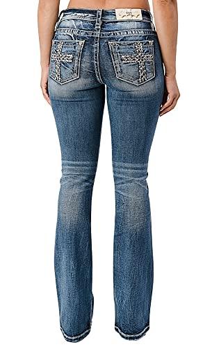Miss Me Women's Mixed Stitch Bootcut Jeans Dark Blue 29W x 34L
